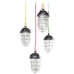 1960s Industrial Caged Hanging Ceiling Pendant Lamps, Lights with Original Glass