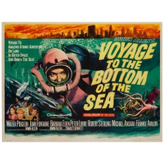 Voyage to the Bottom of the Sea Original British Film Poster, Tom Chantrell 1961