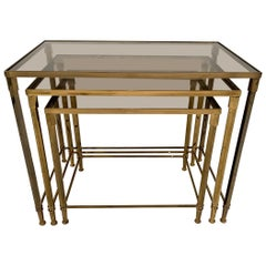Brass and Smoked Glass Nesting Tables