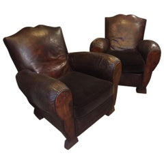 20th Century Italian Pair of Leather Armchairs with Velvet Cushions, 1950s