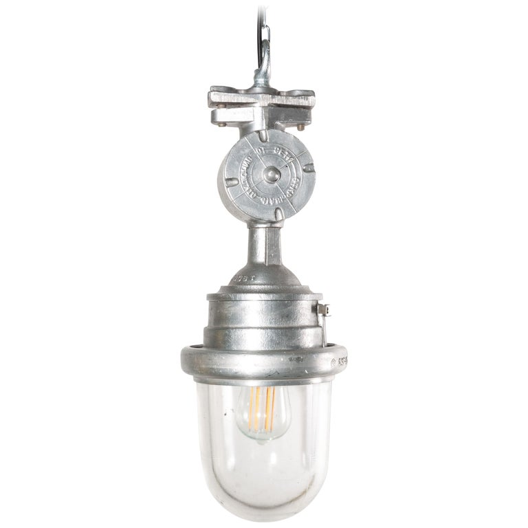 1960s Industrial Explosion Proof Ceiling Pendant Lamps/Lights with Glass Dome For Sale