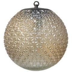 Clear Cognac Glass Vintage European Metal Top Pendant Light