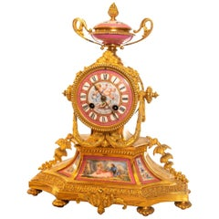 19th Century French Porcelain Panel and Ormolu Mantel Clock