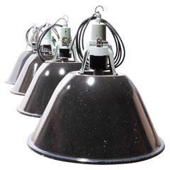 1960s Industrial Large Enamel Ceiling Pendant Lamps/Light, New Old Stock