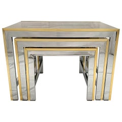 Chrome and Brass Nesting Table by Renato Zevi