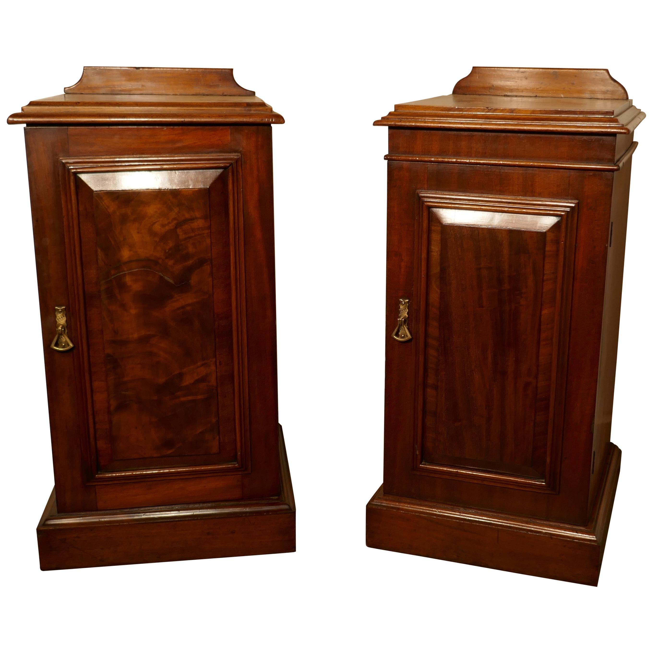 Near Pair of Victorian Walnut Bedside Cupboards