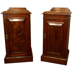 Near Pair of Victorian Walnut Bedside Cupboards
