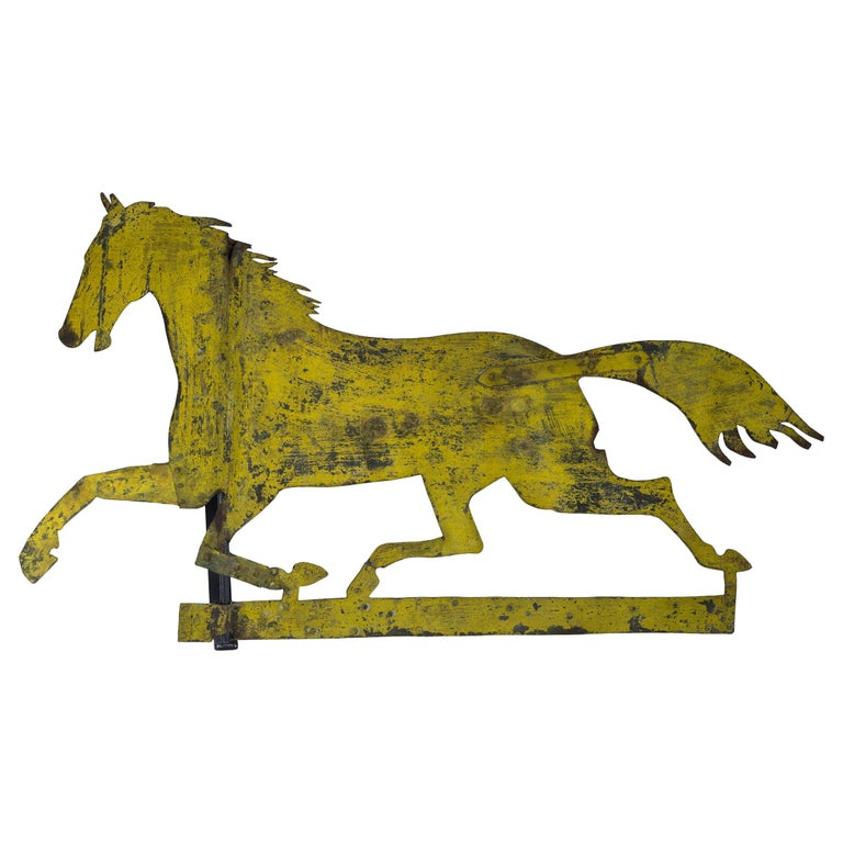 Painted Sheet Iron Horse Weathervane For Sale