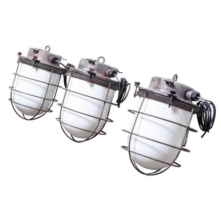 1960s Industrial Ships Ceiling Pendant Lamps/Lights with Caged Opal Glass For Sale