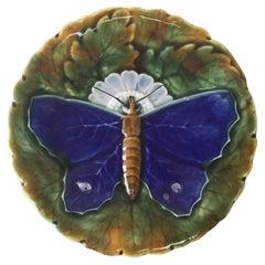 Majolica Blue Butterfly Plate Josef Steidl Znaim, circa 1890