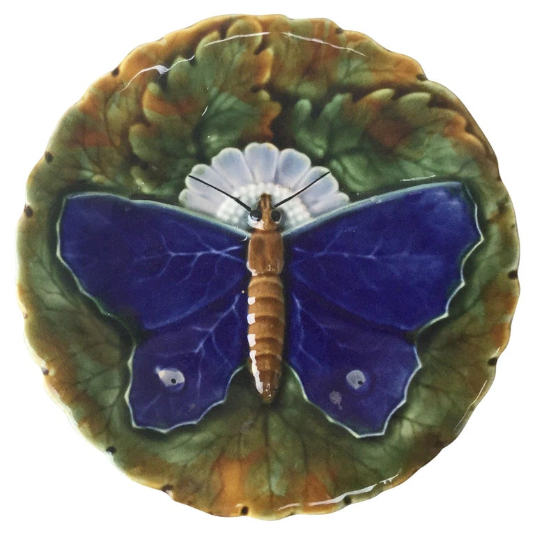Majolica Blue Butterfly Plate Josef Steidl Znaim, circa 1890 For Sale