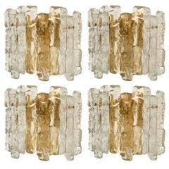 One of Four Ice Glass Wall Sconces with Brass Tone by J.T. Kalmar, Austria