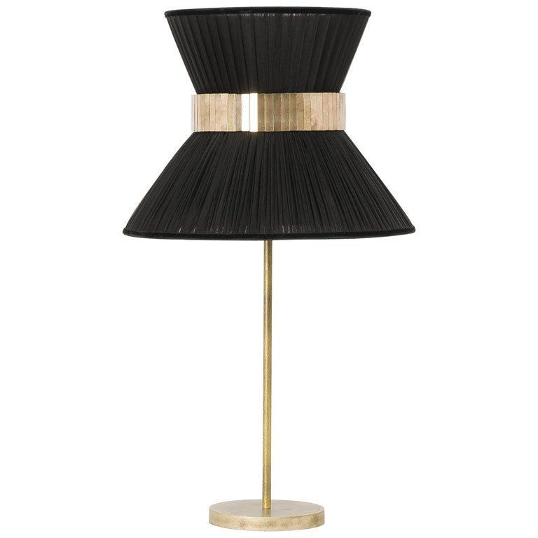 Tiffany Contemporary Table Lamp 30 Black Silk Silvered Glass Brass Canopy For Sale