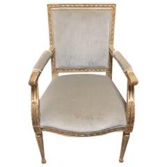 Schumacher Louis XVI Armchair in Gainsborough Velvet Fabric- Sample