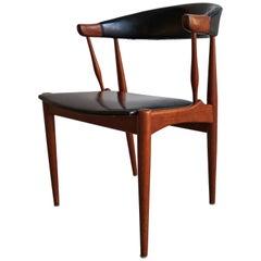 Johannes Andersen Teak Chair, Model BA113, Black Vinyl Upholstery