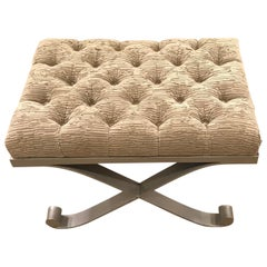 Schumacher Steel Vento Upholstered Tufted Bench- Sample