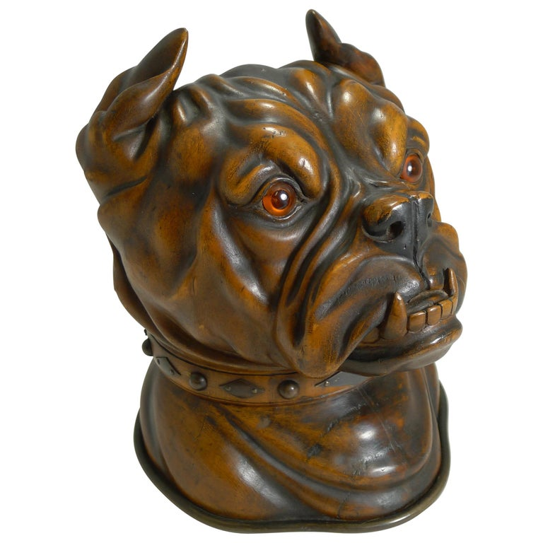 Finest Large Antique Tobacco Box in Fruitwood, English Bulldog, circa 1880 For Sale