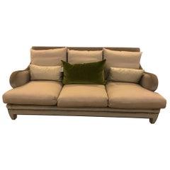 Schumacher Wave Sofa Upholstered in Palermo Mohair Velvet Fabric