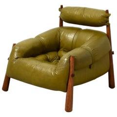 Percival Lafer Brazilian Lounge Chair Late 1950s Jacaranda Leather Olivegreen