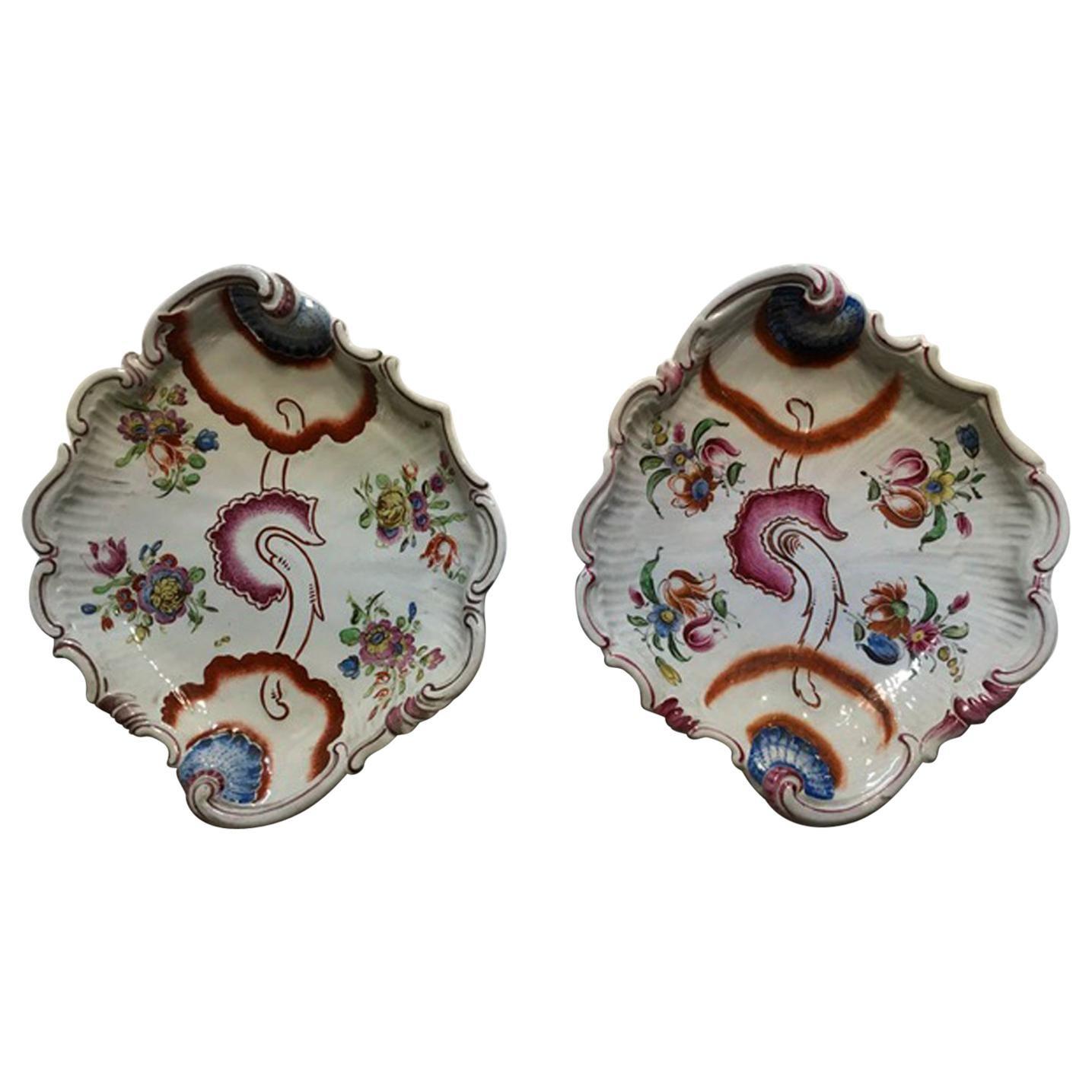 Italy Richard Ginori 1750 Pair of Porcelain Bowls Pink Tulips Drawings Doccia