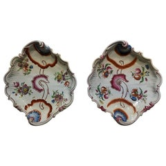 Richard Ginori 1750 Pair of Porcelain Bowls with Pink Tulips Drawings Doccia