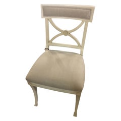 Schumacher Westminster Beechwood Side Chair Upholstered in Brissac Weave