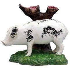 Antique Pottery Figure of a Pig Portobello Pottery, Scotland, Early 19th Century