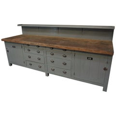 Large French Factory Workbench with Eight Drawers and Two Doors, circa 1930s