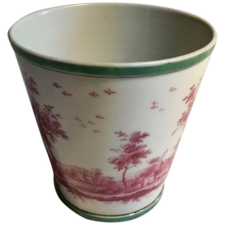 Richard Ginori Mid-18th Century Porcelain Cachepot with Landscape Painting For Sale