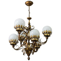 1940s Gilt Metal Chandelier with White Glass Globes