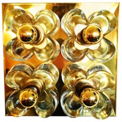 Simon and Schelle Flower Wall Lights Sconce Brass and Glass by Sische, 1960s