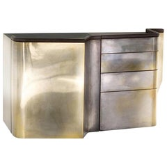 Silvered Brass Faced Console Sideboard with Marble, Leather and Wood Finishes