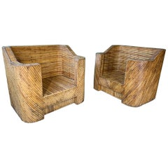 Split Reed Bamboo Club Chairs
