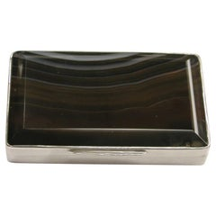 Victorian Silver and Banded Agate Snuff Box, 1873