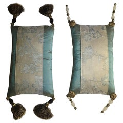 Italy Set Two Embroidered Silk Pillows Japanese Style