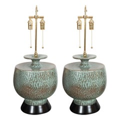 Pair of Mottled Ceramic Table Lamps