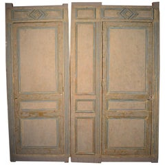 19th Century French Blue and White Painted Paneling with Two Doors