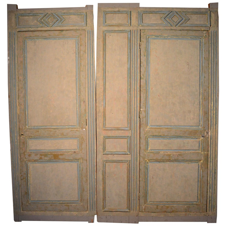 19th Century French Blue and White Painted Paneling with Two Doors For Sale