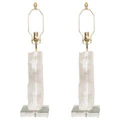 Pair of Selenite Slab Table Lamps