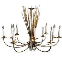12-Arm Gilt Metal Grass Chandelier