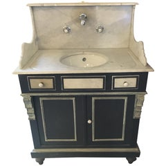 19th Century French Lacquered Wood Cupboard Sink with Carrara Marble Top, 1890s