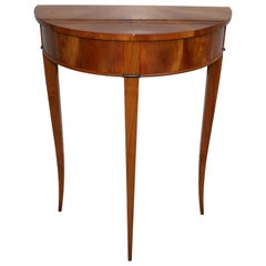 Demi Lune Console Table, Biedermeier Style, Cherrywood Shellac Polished