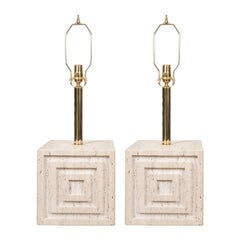 Pair of Travertine Block Table Lamps