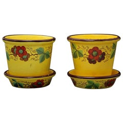 Pair of Antique English Canary Yellow Pottery Jardinieres with Stands British