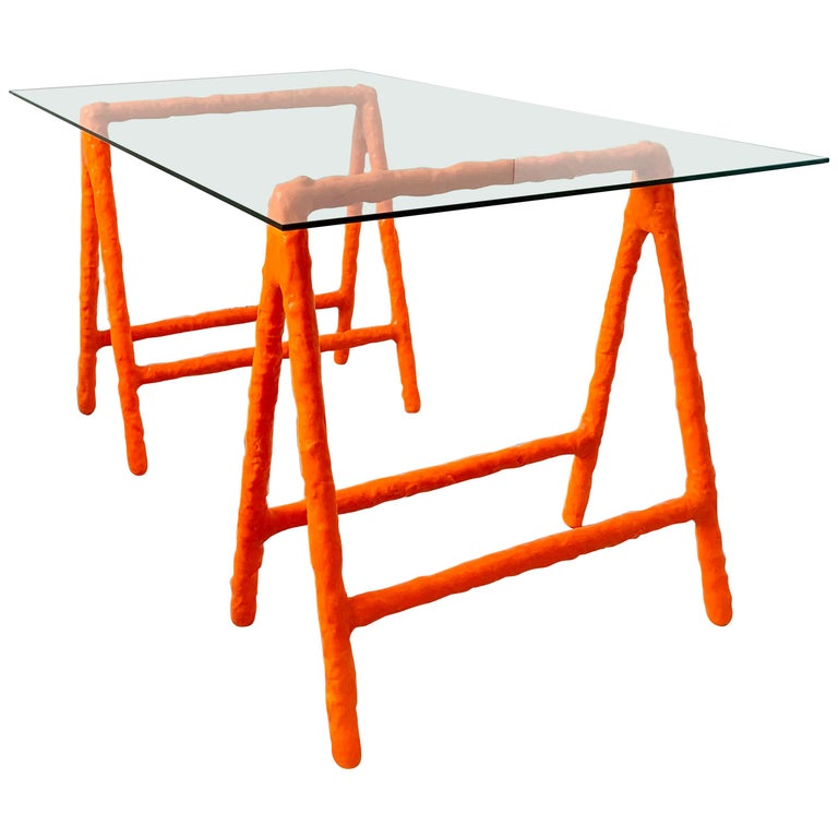 Contemporary Proto Trestle Table By Jerszy Seymour For