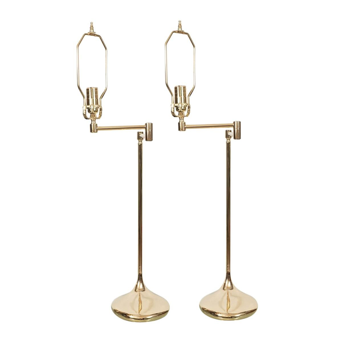 Pair of Unusual Brass Swing-Arm Table Lamps