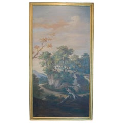 Painted Late 19th Century Italian Scenic Panel in Gold Leaf Frame