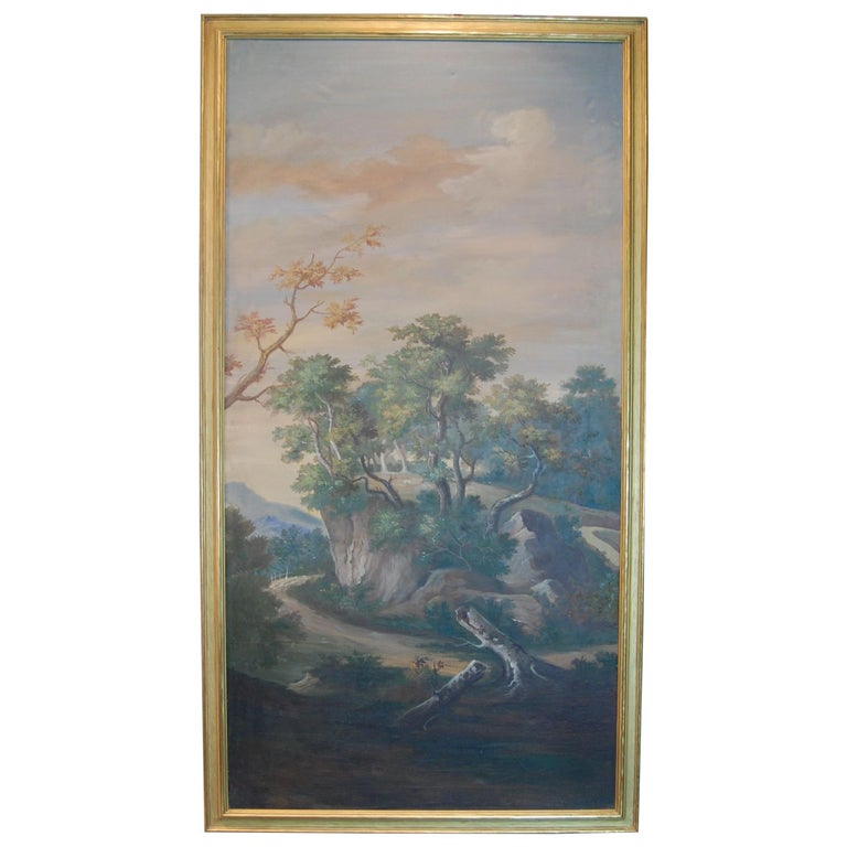 Painted Late 19th Century Italian Scenic Panel in Gold Leaf Frame For Sale