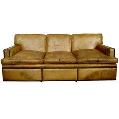 English Georgian Style Leather Sofa with Large Brass Nailhead Edging
