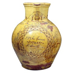 Antique Slipware Harvest Pitcher by Fishleys of Fremington Devon, England, 1868